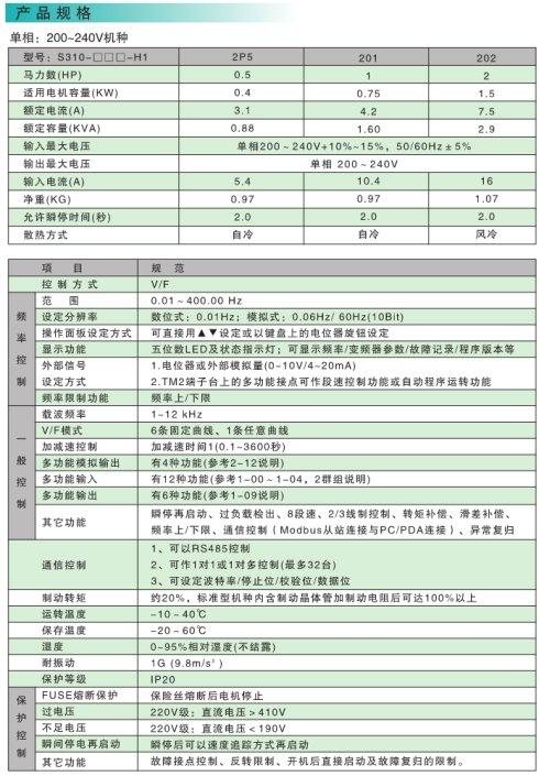 S310产品规格